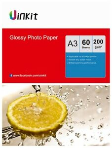 A3 Paper Inkjet Paper High Glossy Inkjet Printing 200Gsm Uinkit - 60 Sheets Pack