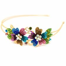 New Fashion Crystal Rhinestone Gold tone metal big Flower design Headband HD112