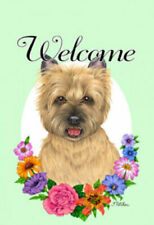 Welcome Flowers House Flag - Wheaten Cairn Terrier 63094