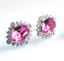 Swarovski Element Crystal Studs Earring White Gold Plated Rose Pink Aqua Blue UK