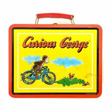 Vintage 1997 Curious George Riding A Bike Yellow Tin Metal Lunch Box Series #3