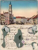 Kamenz Kamjenc Marktplatz mit Rathaus, belebt Ansichtskarte Oberlausitz 1915