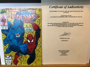 Signed Stan Lee Spiderman Comic with COA