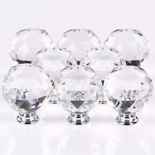 8 x Crystal Glass Furniture Cupboard Door Knobs Drawer Kitchen