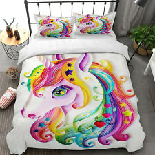 Rainbow Unicorn Duvet Cover Pillow Cases Girls Boys Quilt Cover Bedding Set New