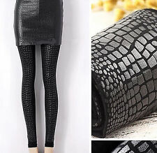 Women Crocodile snake leather Look Pantyhose Opaque Stockings Tights Hosiery