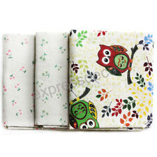 Lot de 3 Coupons Tissu 100% Lin Pastel Cerises Hiboux Couture Patch 50 x 50 cm