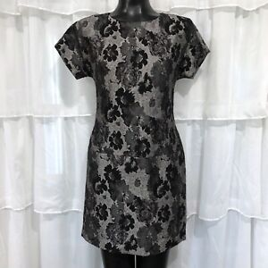 Size 0 Womans BANANA REPUBLIC black and gray floral Sheath Dress