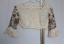 Vintage 60s 70s Embroidered Crop Hippie Dirndl Blouse Shirt Top S