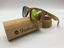 Shadescity 2018 Handcrafted Zebra Wood Frame Gold TAC Polarized Sunglasses