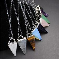 Chakra Gemstone Stone Triangle Pendulum Bead Pendant Charms Healing Necklace yu