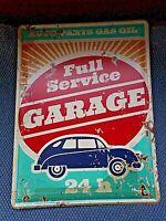 Plaque publicitaire vintage en tôle lithographiée-Full Service Garage