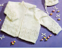 "Picot Baby Cardigans Bonnet Mitts & Fancy Border  16"" - 20"" DK  Knitting Pattern"