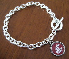 Washington Wash State University Cougars SILVER TOGGLE CHARM BRACELET jewelry