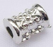 30 Tibetan Silver Barrel Beads - Spacer Beads NF Platinum Plated