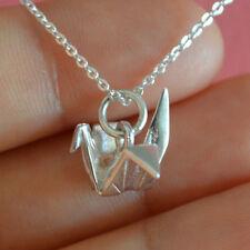 925 Sterling Silver 3D Origami Crane Charm Necklace - Crane Pendant Necklace