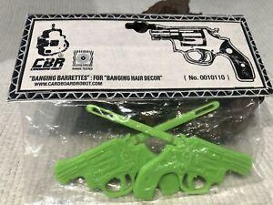 CARDBOARD ROBOT CBR 1 Pair Pistol Handguns lime green HAIR CLIPS Barrettes