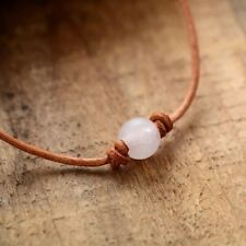 Genuine Rose Quartz Stone Leather Knotted Choker Necklace Wrap Bracelet Brown
