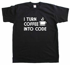 I Turn Coffee Into Code Computer Programmer New Men Size Cotton T Shirt
