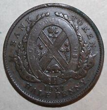 Canadian ½ Penny 1 Sou People's Bank Token 1837 Canada 1/2 One Half Peuple