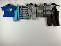 Baby Boys Clothes Bundle 0/3 Months Dungaree Shirts Hoodie Pants Stripy Disney