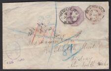 "1898 GB UK QV Embossed WDO REGISTERED Postal Cover to NSW Australia ""FEE PAID"""