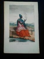 Rarissime Esquises Sénégalaises gravure couleur originale Reine 1853 Abbé Boilat