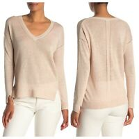 In Cashmere Womens Small 100% Linen Vneck Pullover Sweater Thin Knit New