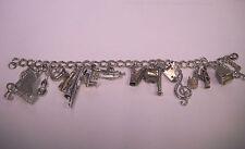 """Vintage Sterling Silver Musical Instruments Charm Bracelet  7"""" + bonus"""