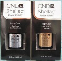 CND SHELLAC LARGE BASE COAT + TOP COAT SET ~ UV LED Soak Off Gel Polish .5 oz ea