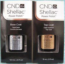 CND SHELLAC LARGE BASE COAT + TOP COAT SET ~ UV/LED Gel Power Polish .5 oz *NIB