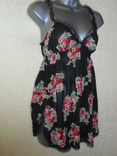 ladies sexy babydoll black with rose floral cami chiffon nightwear top Size 8