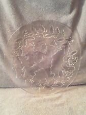 Clear Glass Santa Platter , Christmas Holiday