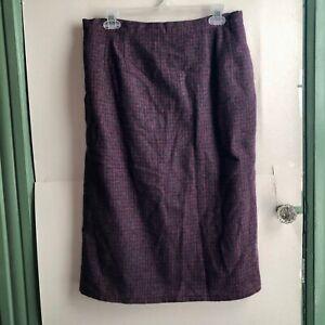 "Gray Pink Checkered Plaid Midi Fall Straight Pencil Slit Skirt 29"" Small Medium"