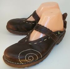 El Naturalista Wo EU 38 US 7.5 Brown Leather Embroidered Slip On Shoe Clogs