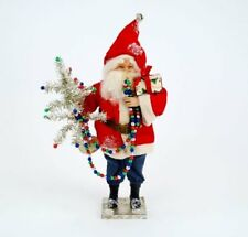 "Vintage-style Santa Claus Figurine 14"" with Silver Tinsel Tree Christmas"