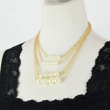 Multi Layered Stacked Faux Pearl Necklace
