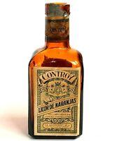 Vintage Controy Liquor Miniature Bottle Licor De Naranjas Lemons Mexico Glass