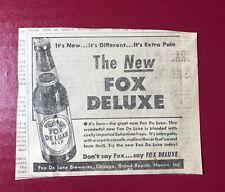New listing 1940's-1950's Fox DeLuxe beer print ad Grand Rapids Mi 4.5x5�