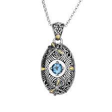 """Phillip Gavriel 18K Gold & Silver & Blue Topaz Oval Dragonfly Necklace, 18"""""""
