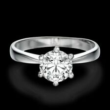 2/3 CT Solitaire Diamond Engagement Ring Round Cut F/VS2 18K White Gold Enhanced