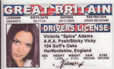 Spice Girl Victoria Adams POSH novelty collectors card Drivers License