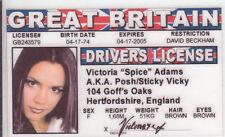 Spice Girl Victoria Adams Posh novelty collectors card Drivers License