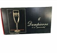 Cristal D'Arques Durand Dampierre Champagne Flutes Etched Crystal Set of 6