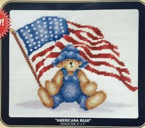 Americana Bear American Flag DMC Needlepoint Canvas Collection #NC019 NIP**