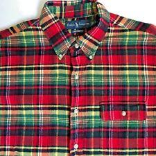RALPH LAUREN  Flannel Red Multi Color Plaid Shirt  Men's L Large CUSTOM FIT