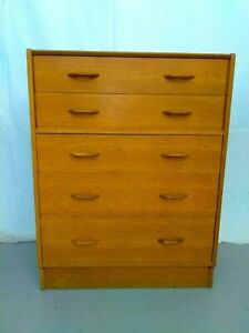 VINTAGE MID CENTURY G PLAN E GOMME 5 DRAWER CHEST OF DRAWERS