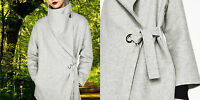 ZARA WOLLMANTEL MANTEL WASSERFALL KRAGEN WOOL HAND MADE BELTED COAT WATERFALL  S