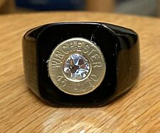 Winchester 45 Caliber Bullet Casing Black Steel Ring Size 12 W/ Clear Crystal
