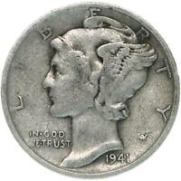 1941 S Mercury Dime Small s 90% Silver Fine FN